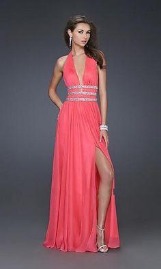 Sheath Chiffon V-neck Long Dress Charm86052