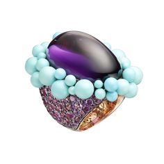 de GRISOGONO Melody of Colours ring in pink gold with amethyst and turquoise beads