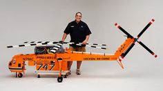 Model Erickson S-64 Air Crane Helicopter, built with 100,000 LEGO bricks.