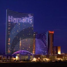 Harrah's,  Atlantic City; hotel and dome; night time