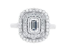 #engagementrings Emerald Cut Antique Double Halo #engagementring #diamondrings #diamonds #engaged #engagement #rings #diamond #jewellery #gold #whitegold #goldjewellery #bride #groom #ido #wedding #diamondjewellery