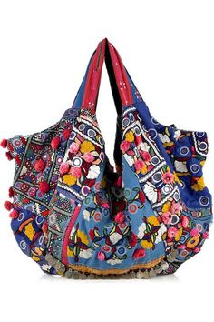 Simone Camille Carryall blue embroidered cotton bag 2