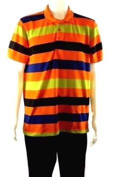 Men's Size Large Polo Shirt Multi-Color Striped Short Sleeve by OLD School #OldSchool #PoloRugby
