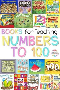 Books for teaching numbers to 100! Plan a fun classroom celebration with these 100 days of school ideas, learning activities, and games Kindergarten, first grade, and second grade kids will enjoy! The fun math, reading, writing, and hands-on projects or party ideas include dressing up or wearing a 100th day shirt, making a yummy snack, bringing in a collection, and much more teaching tips! Teaching Numbers, Numbers Kindergarten, Kindergarten Lesson Plans, Kindergarten Activities, Teaching Math, Learning Activities, Number Activities, Teaching Ideas, Teaching Time
