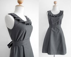 Custom fully lined pleated collar dress in GRAY with by Ananya, $60.00