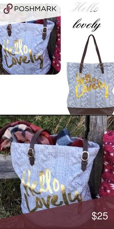 1e1ea6208bca Hello lovely canvas tote bag spring/summer tote Hello lovely gray canvas  tote bag with adjustable shoulder strap, cute gold print detailing, durable  cotton ...
