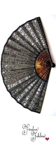 Frivolous Fabulous - Black Edwardian Sequined Fan