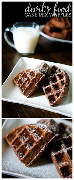 Easy and Delicious Devil's Food Cake Mix Waffles - Whip up the batter quickly to enjoy a chocolatey goodness breakfast! | The Love Nerds #ad #MixUpAMoment