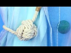 How to make handmade curtain tie backs. In this tutorial we& create DIY monkey fist from ordinary cotton rope and use it as a decorative knot. Curtain Tie Backs Diy, Curtain Ties, How To Make Tassels, How To Make Curtains, Nautical Curtains, Monkey Fist Knot, Decorative Knots, Home Curtains, Deco Mesh Wreaths