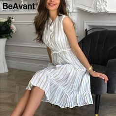 Shop & Buy Women striped summer dress Sexy sleeveless sash single breasted beach dress Casual ladies belt ruffled loose maxi dress Online from Aalamey Elegant Midi Dresses, Sexy Summer Dresses, Sexy Dresses, Casual Dresses, Dresses For Work, Sleeveless Dresses, Long Dresses, Cheap Dresses, Midi Dress Work