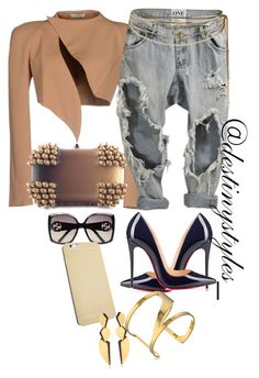 """Untitled #108"" by iamdestinnny on Polyvore featuring Thierry Mugler, SUEDE, Christian Louboutin, Gucci, Rosantica, Vince Camuto, Hervé Van Der Straeten, women's clothing, women and female"