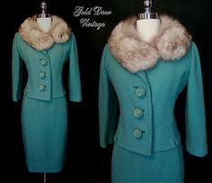 Lilli Ann 50s Fox Fur Trim Suit
