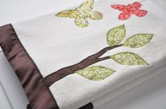Organic Woodland Butterfly Baby Blanket -- Personalized Free -- Toddler Size.