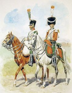 Kingdom of Italy- carabiniers konii. From left to right: szaser, company trumpeter of the company. Fig. L. Rousselot.