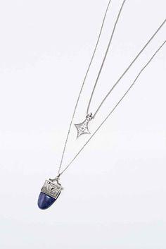 Semi-Precious 2 Row Necklace in Silver