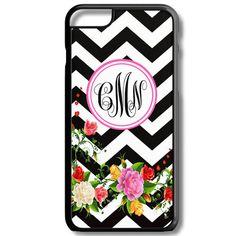 Black Chevron Floral Monogram Iphone 6/6s Case Plus 5c 5/5s 4/4s Personalized Custom Cover