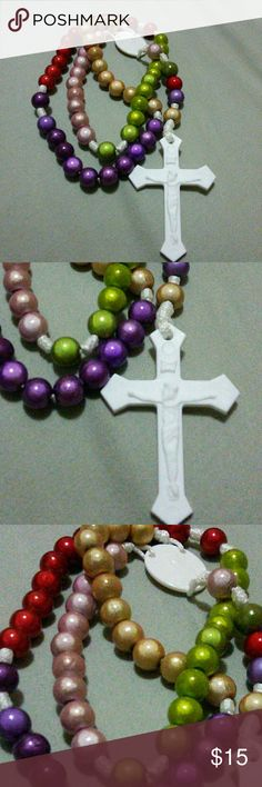 Colorful Rosary Handmade with love by yours truly. Lovely wooden gloss coated beads. Not made to be worn but excellent for Praying or a gift for someone to pray with. Not Blessed.  #GodIsAwesome Cawood Collection Jewelry Necklaces