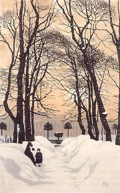 Anna Ostroumova-Lebedeva, The Summer Garden in Winter, St. Petersburg, 1902