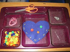 Montessori, Waldorf: Practical Life sewing and sewing a button activity.