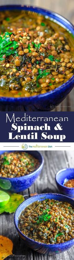 Mediterranean Spicy Spinach Lentil Soup Recipe| The Mediterranean Dish. A nutritious, flavor-packed lentil soup that comes together in minutes. Following the Mediterranean diet is easy with meals like this lentil soup! #ComfortFoodFeast