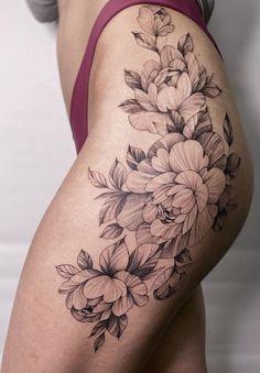 Old Women With Tattoos, Leg Tattoos Women, Shoulder Tattoos For Women, Female Hip Tattoos, Floral Hip Tattoo, Flower Hip Tattoos, Rose Tattoos, Body Art Tattoos, Small Thigh Tattoos