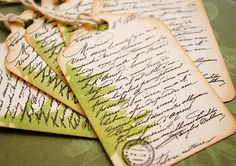 Christmas Tree Script Vintage Style Holiday Tags  Set of 6, 2 3/4 x 1 3/4 $4.50