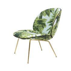 - Beetle Lounge Chair Fabric Brass Base - green/fabric Pierre Frey Mauritius F27510/WxHxD 63x80x72cm/piping Hot 392/ brass base