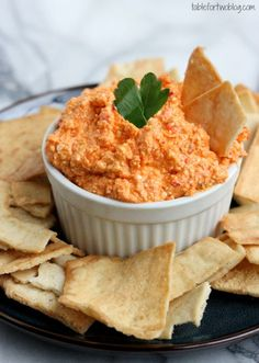 Kopanisti - A Greek inspired dip of whipped feta and roasted red peppers from tablefortwoblog.com - sounds delish for game day!