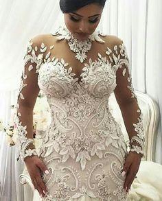 2020 Mermaid Wedding Dresses Nigeria High Neck Full Back Dubai Arabic Castle Bridal Gowns Plus Size Long Sleeve Wedding Dress Wedding Dress Black, Lace Mermaid Wedding Dress, Long Wedding Dresses, Bridal Dresses, Wedding Gowns, African Wedding Dress, Bridesmaid Dresses, Lace Dresses, Dress Lace