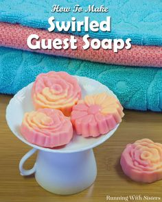 Make your own Swirled Guest Soaps with melt and pour soap. We'll show you how to make two colors and swirl them together for pretty handmade soaps.