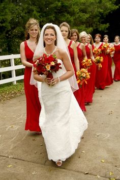 Red and orange bouquets#Cedarwoodweddings