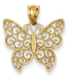 ApplesofGold.com - Filigree Butterfly Pendant in 14K Yellow Gold, $115