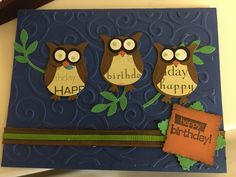 Owl happy bday card 2016 Front different lighting