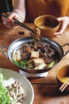Traditional Sukiyaki Recipe (Beef Hotpot) from Maori Murota's Tokyo Cult Recipes, a cookery book featuring 100 recipes for popular home-cooked and eat-out dishes from Tokyo