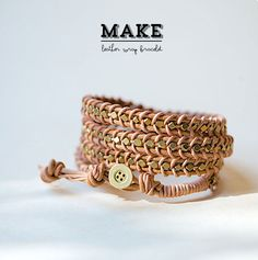Leather Wrap Bracelet http://www.handimania.com/diy/leather-wrap-bracelet-2.html