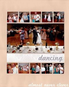 This layout has a couple of my very favorite things: an enormous photo and lots of little photo squares. The main photo is of a bunch of us on the dance floor. My photographer edited the picture c... #weddingscrapbooks