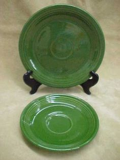 Vintage 1950u0027s Fiesta Ware Dark Green 7 1/2  Bread and Butter Plate Saucer & Corsica La Province Dinnerware set of 24 $257.76 | Kitchen ...
