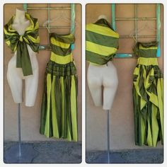 1940s Dress Strapless Evening Gown Chartreuse Striped Bustle Xsmall B30 W22 201598 - pinned by pin4etsy.com