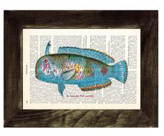 Book Print Dictionary or Encyclopedia Fish Page Print by PRRINT, $6.99