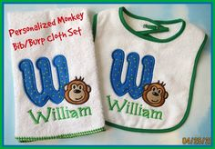 Personalized Monogram Monkey Bib/Burp Cloth Set for a new baby. https://www.facebook.com/LilMonkeysHandmade
