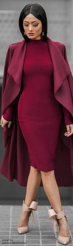 burgundy dress, coat @roressclothes closet ideas women fashion outfit clothing style