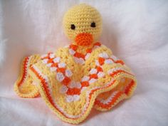Crochet Duck Snuggle Buddy Blanket Toy