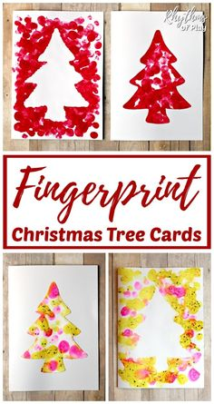 Reverse Fingerprint Art Christmas Tree Card - This easy craft makes for the perfect homemade Christmas card or DIY gift tag kids can make this holiday season. Personalize gifts with handmade cards! Christmas Crafts For Kids To Make, Homemade Christmas Cards, Christmas Tree Cards, Christmas Activities, Christmas Themes, Kids Christmas, Preschool Christmas, Christmas Projects, Craft Activities