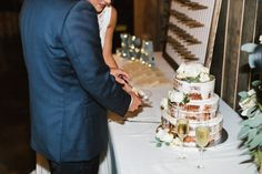 naked wedding cake at colorful ranch wedding in  missouri