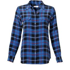 Rental Equipment Contrast Plaid Button Down ($50) ❤ liked on Polyvore featuring tops, shirts, long sleeve shirts, plaid, dresses, shirts & tops, plaid button down shirt, cuff shirts, blue top and blue button up shirt