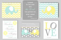This elephant print collection includes six prints, including two elephant prints on chevron backgrounds, an elephant family featuring the First We Had Each Other..., quote, a LOVE print, You Are My Sunshine print and a Bible verse (I Prayed for This Child...). The print collection will be a lovely addition to the decor in your little ones nursery and each print can be customized to match your décor. Just send me a photo or link to your bedding and I will be happy to work on coordinating…