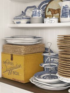 blue and white porcelain w/ pop of mustard yellow.