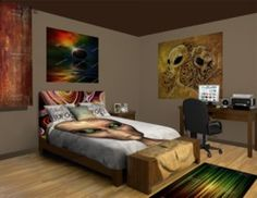 Alien Extreme Bedroom Theme featured at http://www.visionbedding.com/Alien-Extreme_Bedroom-rm-11146