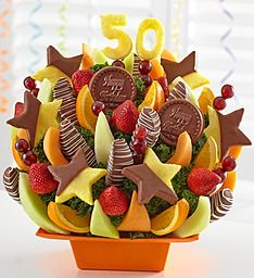 """Say """"Happy Birthday"""" in the sweetest way possible with this delicious fruit bouquet. Decorated with a 40 or 50 birthday theme, this handcrafted bouquet offers a mouthwatering selection o . 50th Birthday Themes, Birthday Desserts, Birthday Bash, It's Your Birthday, Birthday Gifts, Happy Birthday, 800 Flowers, Fresh Flowers, Best Honey"""