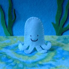 Baby Blue Octopus Finger Puppet. $5.00, via Etsy.